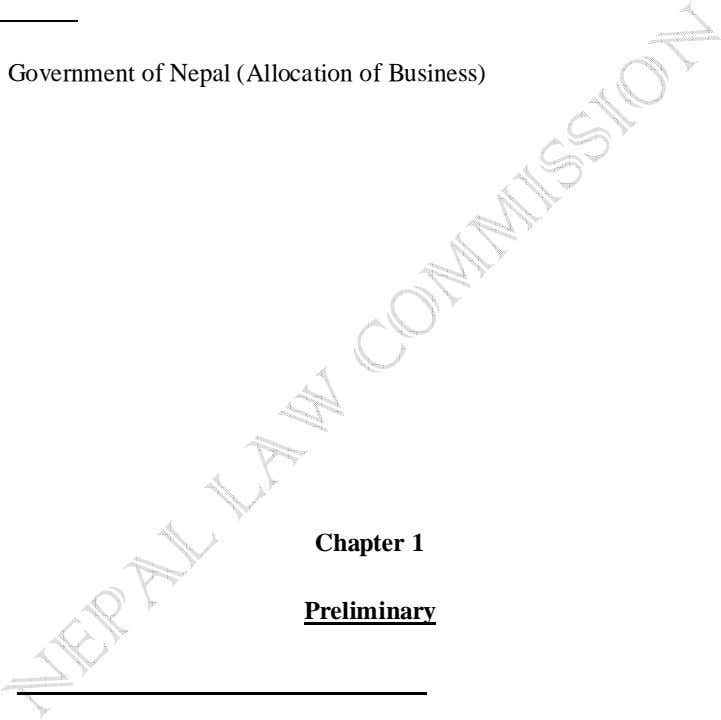 Government of Nepal (Allocation of Business) (First Amendment) Rules, 2065 (2008) Government of Nepal (Allocation
