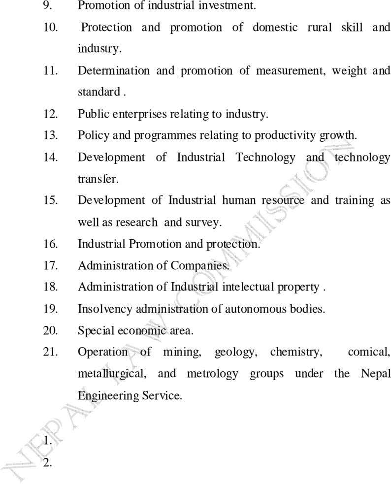 9. Promotion of industrial investment. 10. Protection and promotion of domestic rural skill and industry.