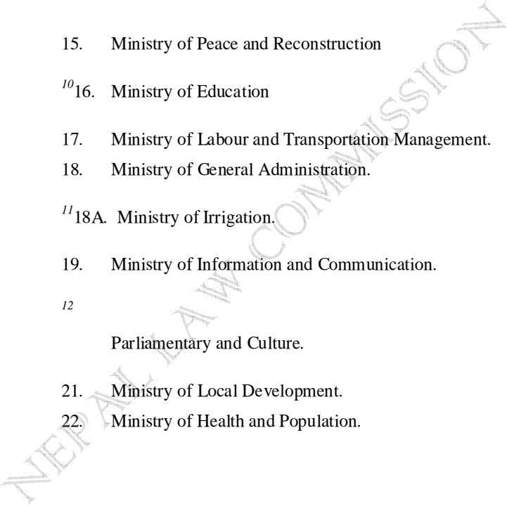 15. Ministry of Peace and Reconstruction 10 16. Ministry of Education 17. Ministry of Labour