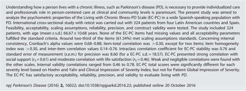 Understanding how a person lives with a chronic illness, such as Parkinson ' s disease