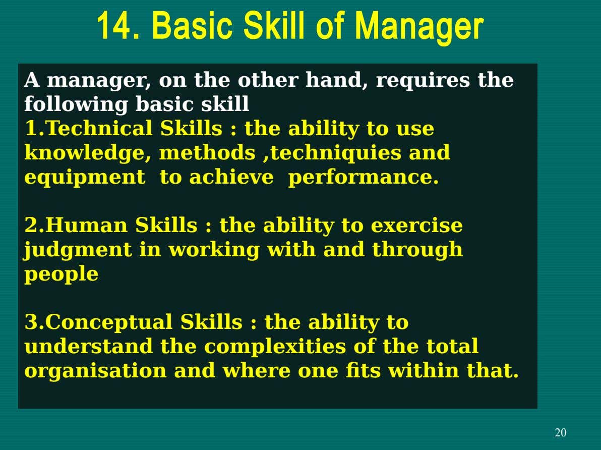 14. Basic Skill of Manager A manager, on the other hand, requires the following basic skill
