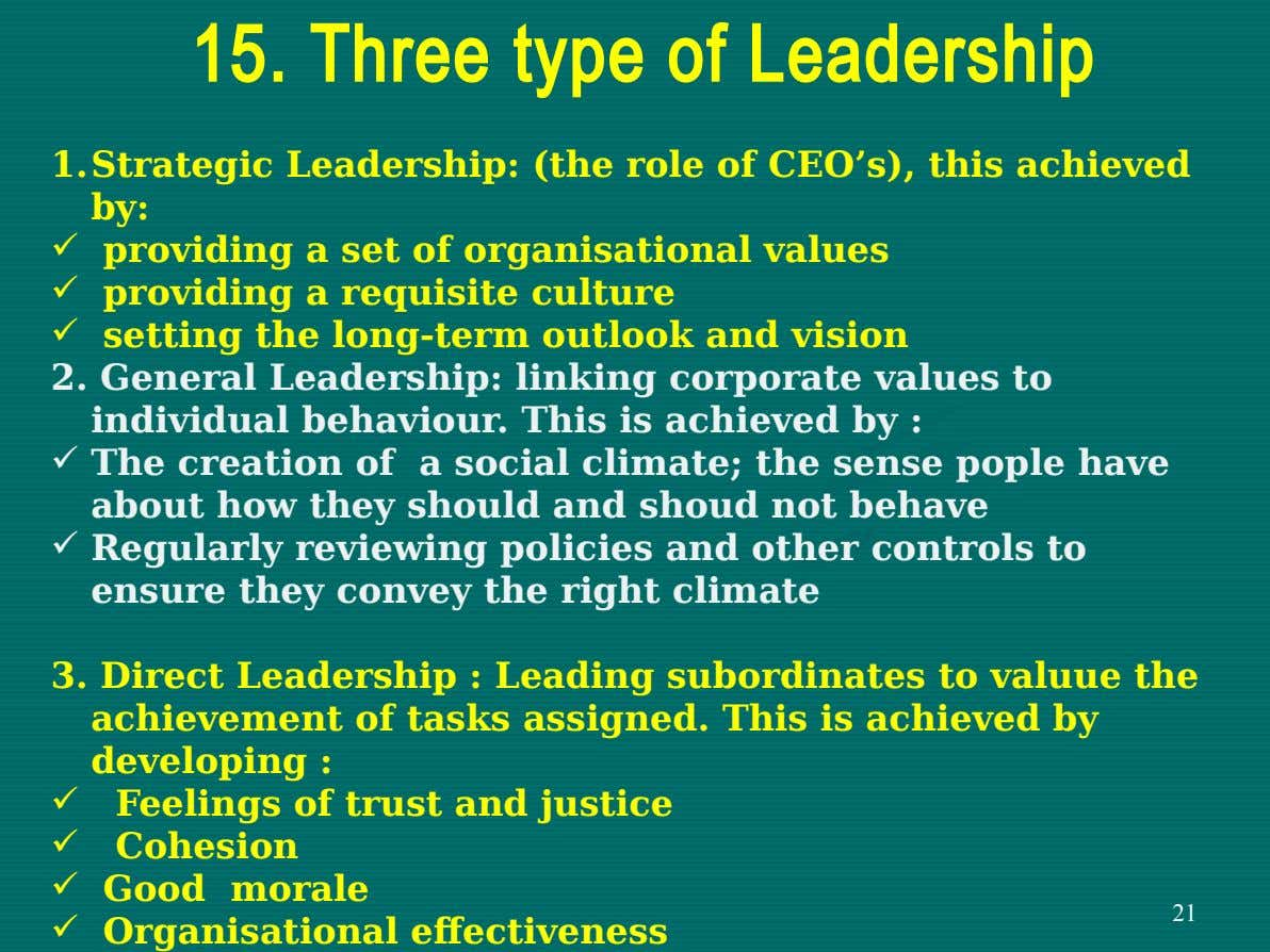 15. Three type of Leadership 1.Strategic Leadership: (the role of CEO's), this achieved by:  providing