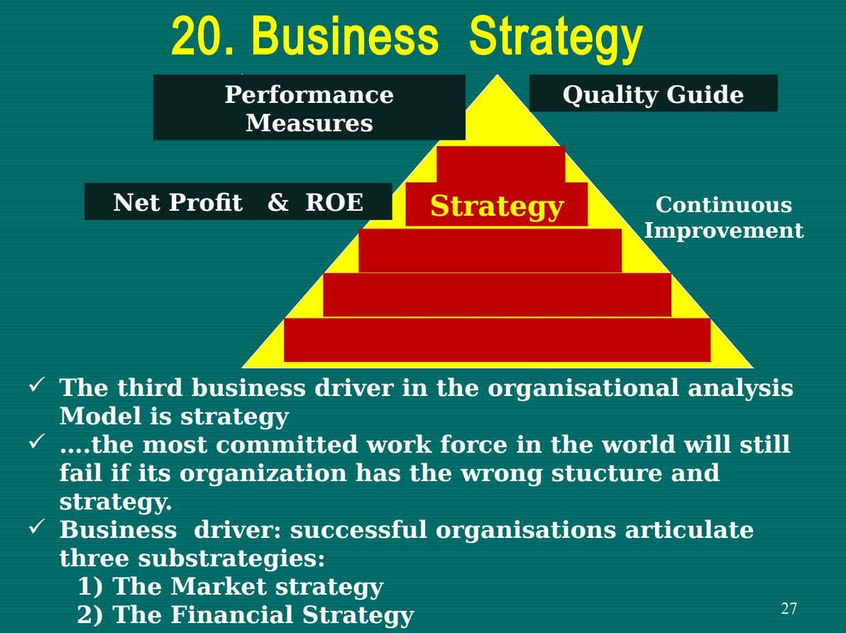 20. Business Strategy Performance Quality Guide Measures Directio n Net Profit & ROE Strategy Continuous Improvement
