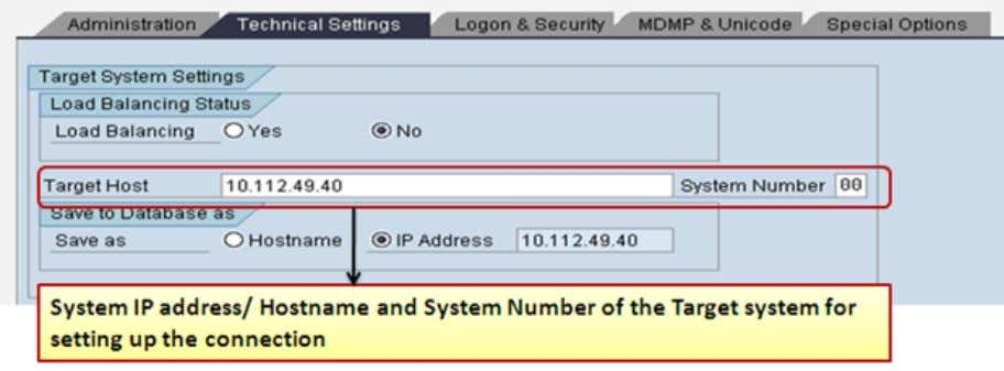 In the 'Logon and Security' Tab, Enter Target System information  Language – As per the