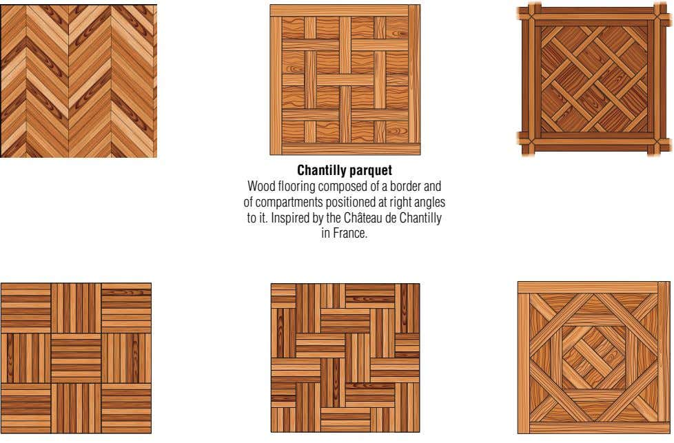 Chantilly parquet Wood flooring composed of a border and of compartments positioned at right angles