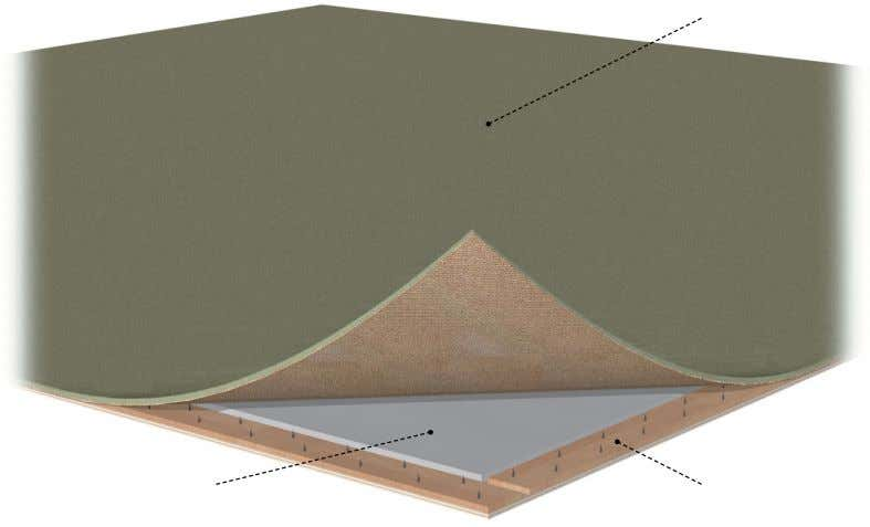 of a carpet made of raised fibers that are cut or looped. underlay Covering placed beneath