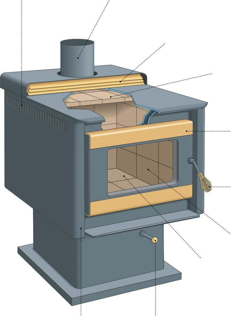entering the fire box is controlled to slow down combustion. warm-air baffle Device forcing heated air