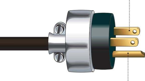 into the slot of an outlet to establish electric contact. grounding prong Device connecting a circuit's