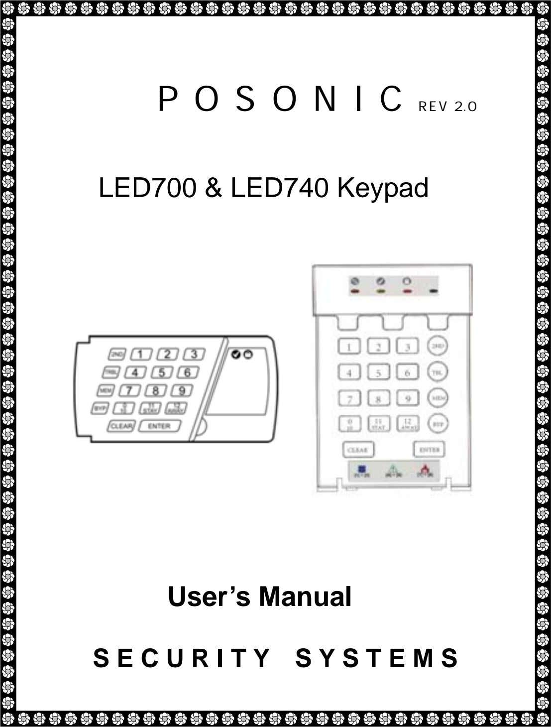 P O S O N I C REV 2.0 LED700 & LED740 Keypad User's Manual