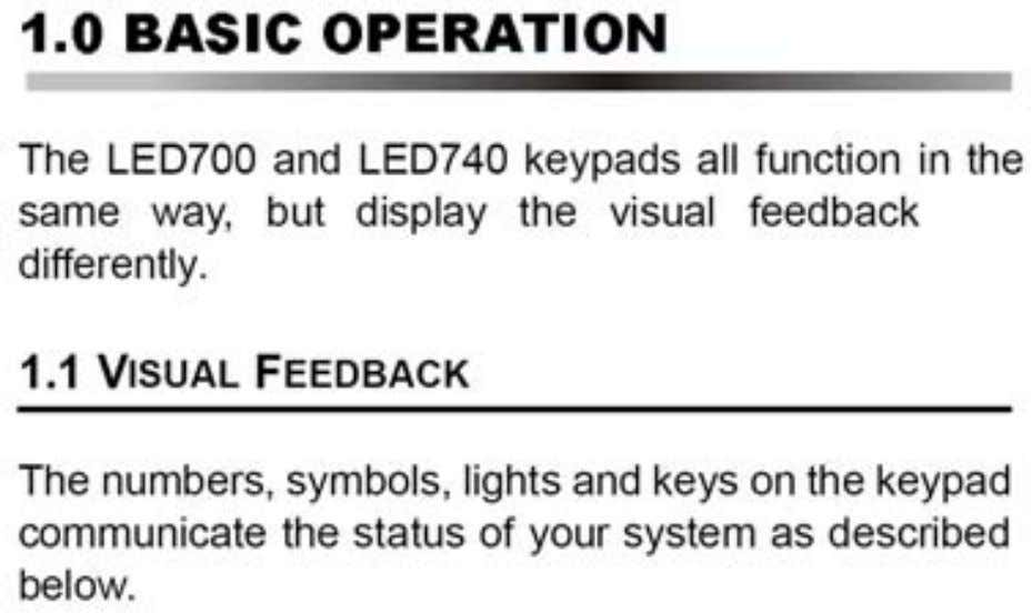 Figure 1: Overview of the LED700 Keypad: