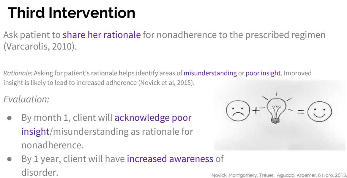 Third Intervention Ask patient to share her rationale for nonadherence to the prescribed regimen (Varcarolis, 2010).