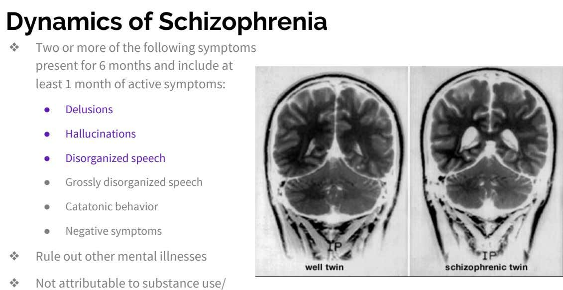 Dynamics of Schizophrenia ❖ Two or more of the following symptoms present for 6 months and