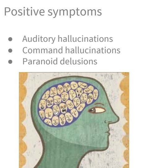 Positive symptoms ● Auditory hallucinations ● Command hallucinations ● Paranoid delusions