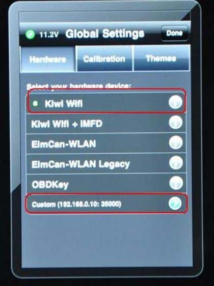 KiWi Wifi as your hardware device. Click Custom , enter 192.168.0.10 as the IP address and