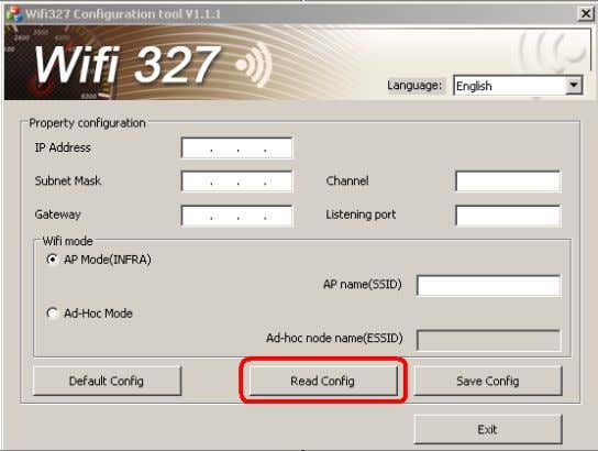in wifi327 usb port. Open Wifi327ConfigToolV1.1.1.exe soft. Click on the ReadConfig button, Click the ok button.