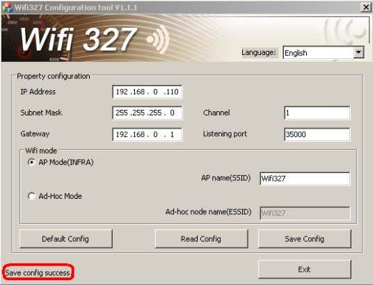 Configuration success, pull out the usb line. When Use Infra mode. Modify wifi mode,choose AP