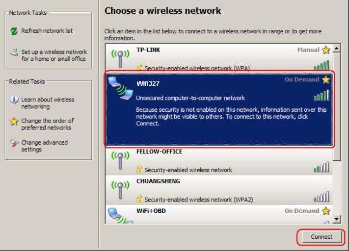 click OK . You can find the Wifi327 device in the window shown below. Click Connect