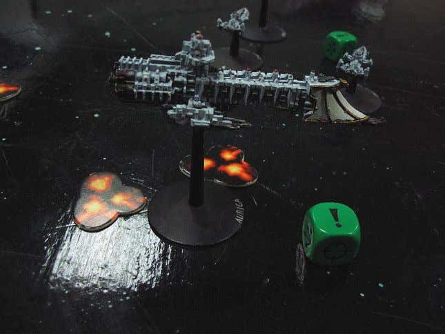 the Chaos player made 2 critical mistakes. He squadroned his 2 Devastations together to make the
