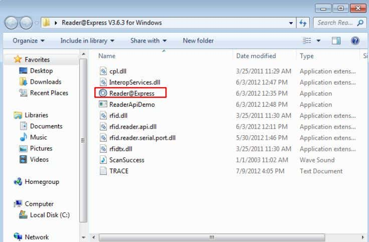 "Windows 7 (32bit) 6. Run the "" Reader@Express V3.6.3 for Windows"""