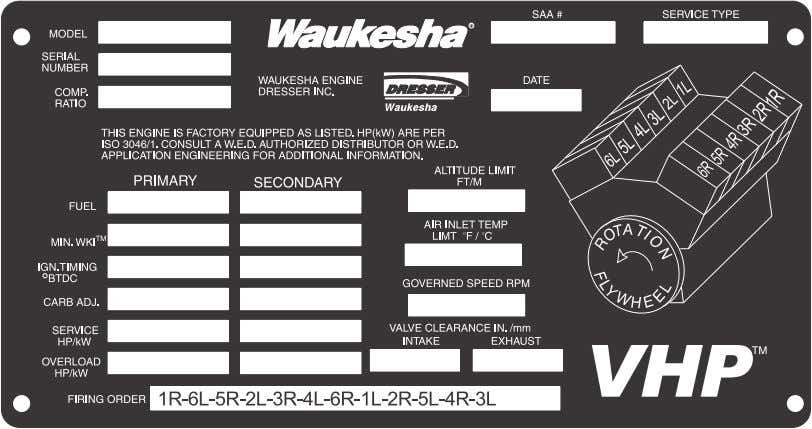 recommendation from your local Waukesha Distributor. Figure 1. Nameplate – Current Production PART NUMBERS ARE