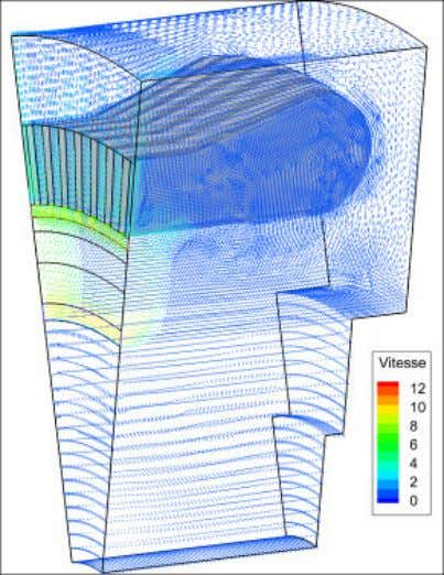 by verifying the energy and mass balances. 4.3 CFD results Figure 10: Velocity vector field in