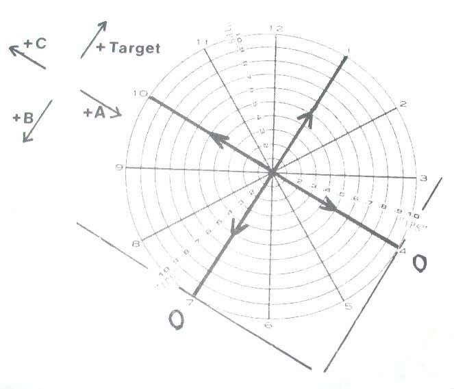 sample of the spoke pattern in a corner above the chart identifying which weight change produced