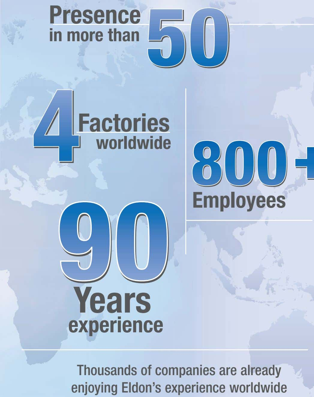 Presence in more than Factories worldwide Employees Years experience Thousands of companies are already enjoying