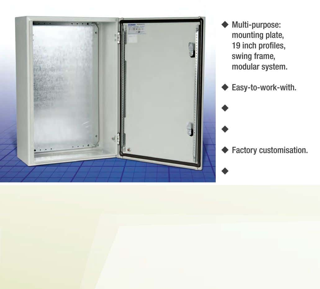  Multi-purpose: mounting plate, 19 inch profiles, swing frame, modular system.  Easy-to-work-with.  