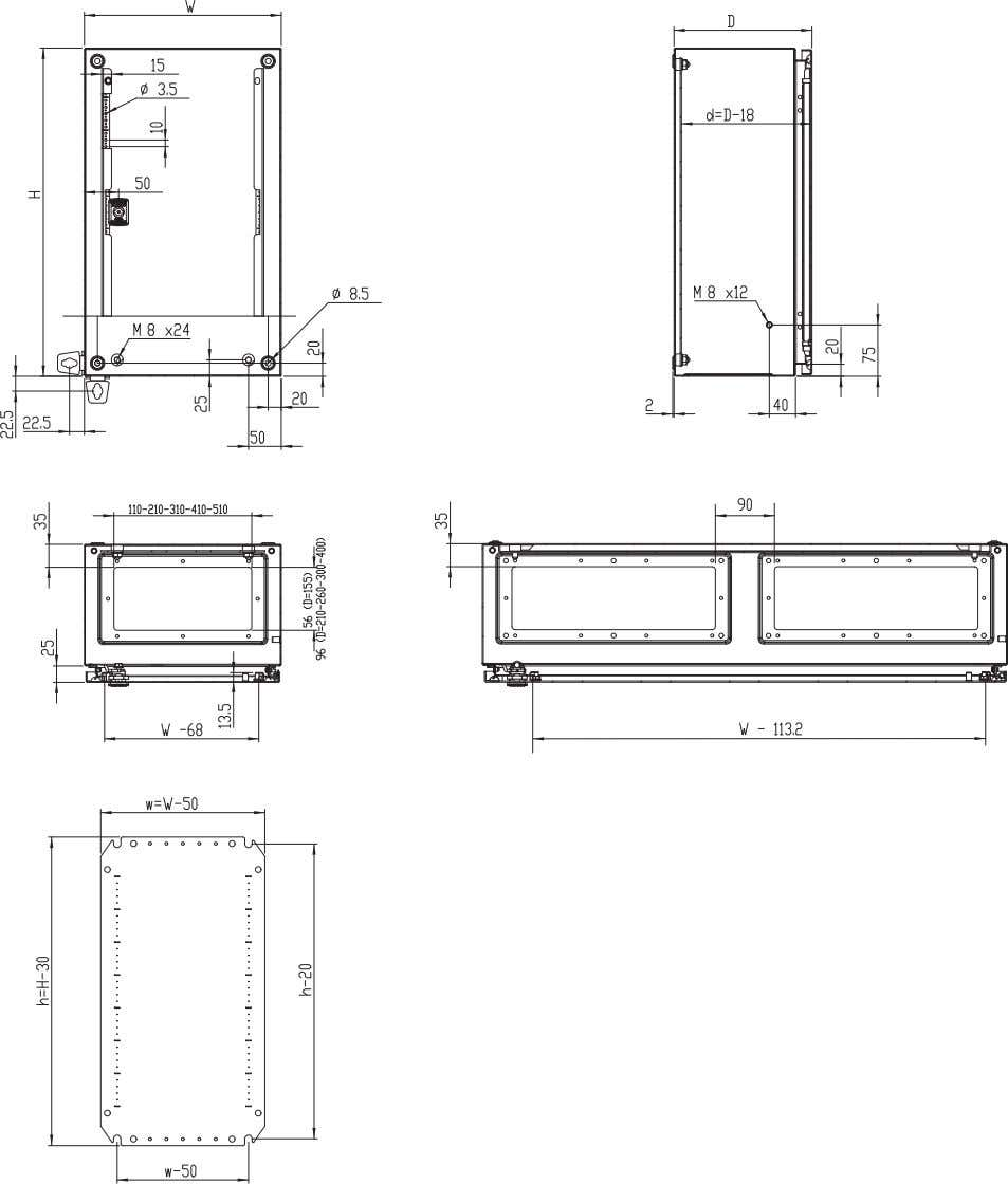 Wall Mounting Enclosures Dimensions Product specifications, CAD drawings and info rmation available on th e website