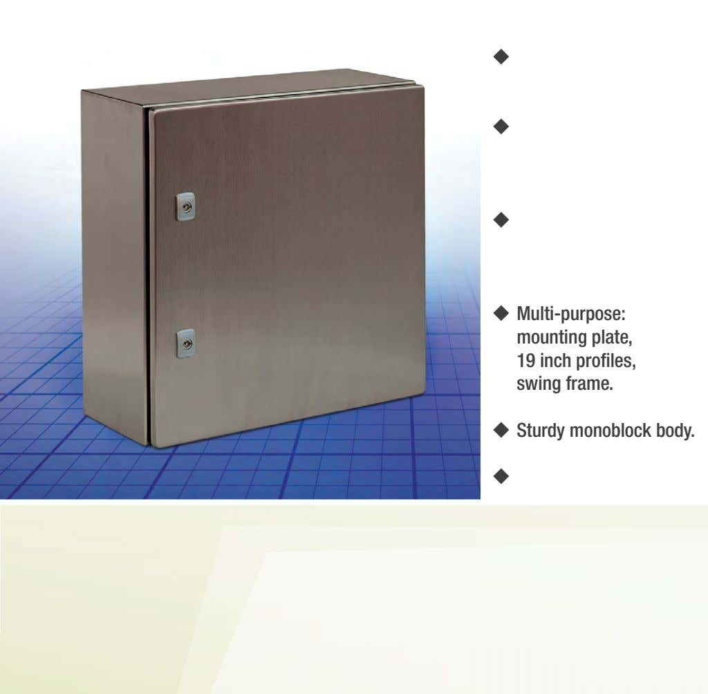     Multi-purpose: mounting plate, 19 inch profiles, swing frame.  Sturdy monoblock
