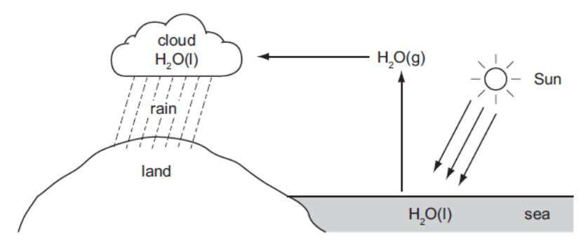 Q (1_a) 1) The diagram below shows part of the Water Cycle. (a) (i) State the