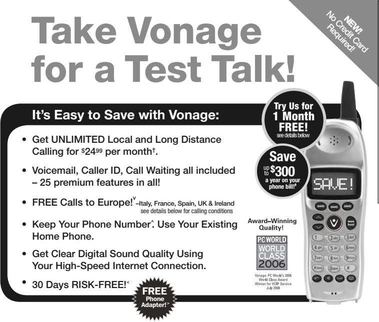 Credit NEW! Card No Required! Take Vonage for a Test Talk! Try Us for It's