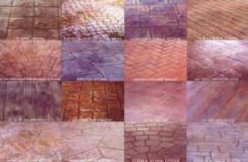 Decorative Concrete achieved by stamps, colour and finishing process Final appearance can be made to resemble
