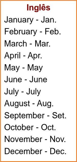 Inglês January - Jan. February - Feb. March - Mar. April - Apr. May -