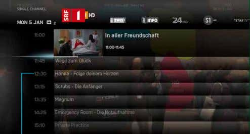 Channel selected Channel list (horizontal navigation) Broadcast time Programme list (vertical navigation)