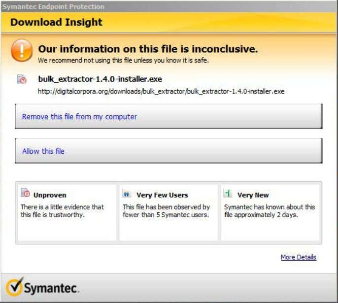 Figure 3: Anti-virus software, such as Symantec, often tries to block download of the installer