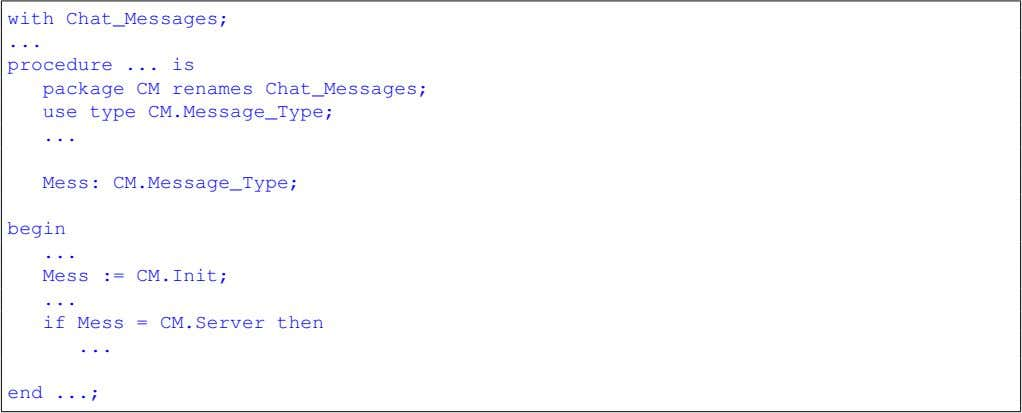 with Chat_Messages; procedure is package CM renames Chat_Messages; use type CM.Message_Type; Mess: