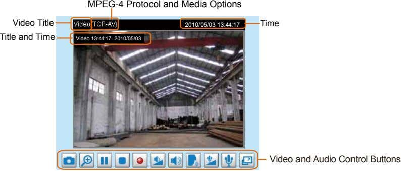 MPEG-4 Protocol and Media Options Video Title Title and Time Time 2010/05/03 13:44:17 Video 13:44:17