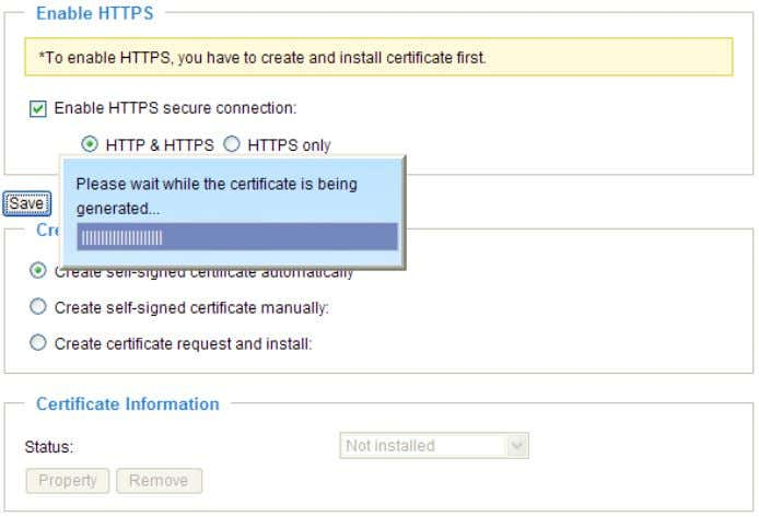 "option: ""HTTP & HTTPS"" or ""HTTPS only"". 3. Click Save to generate a certificate. User's Manual"