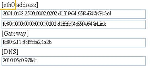 address will be displayed as follows: Refers to Ethernet Link-global IPv6 address/network mask Link-local IPv6