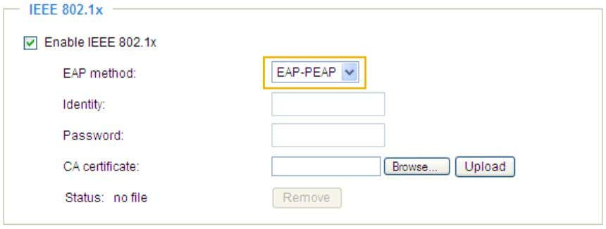 following blanks, enter your ID and password issued by the CA, then upload related certificate(s). User's