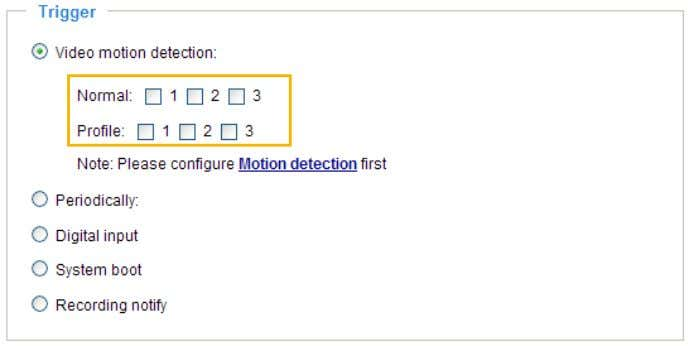 please refer to Motion Detection on page 64 for details. ■ Periodically This option allows the