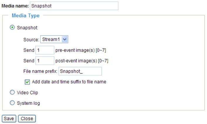 : Select to send snapshots when a trigger is activated. ■ Source: Select to take snapshots