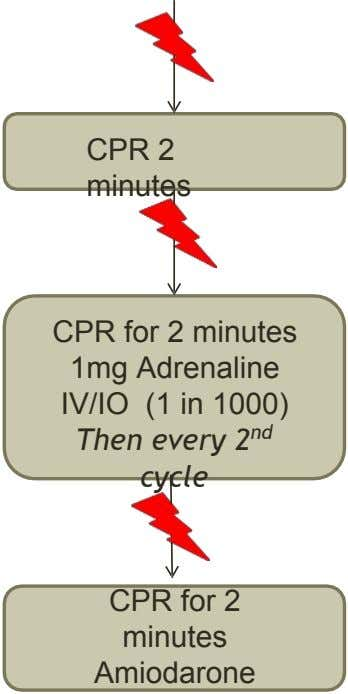 CPR 2 minutes CPR for 2 minutes 1mg Adrenaline IV/IO (1 in 1000) Then every