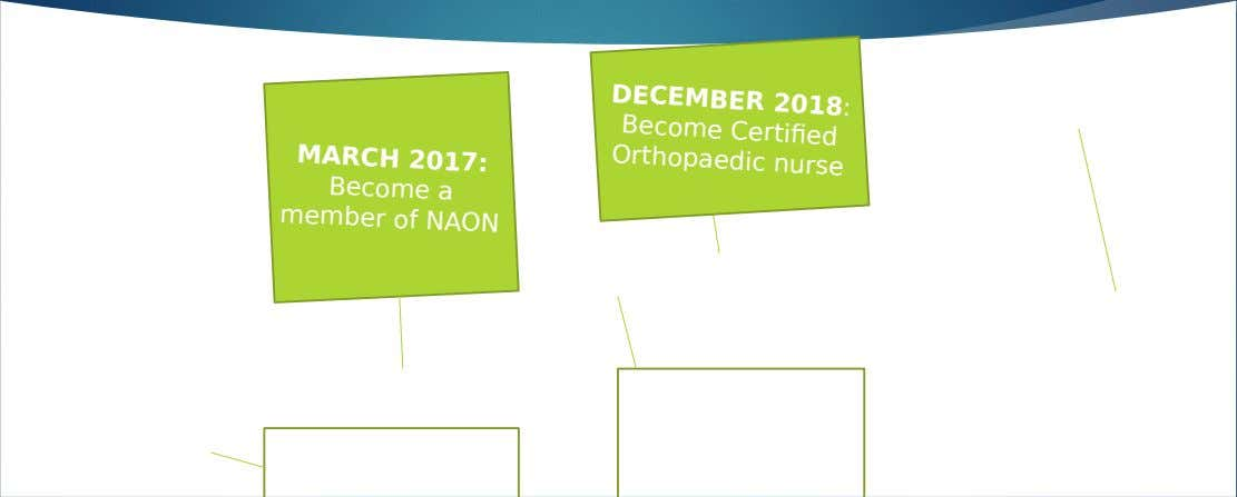 DECEMBER 2018: Become Certified Orthopaedic nurse MARCH 2017: Become a member of NAON AUGUST 2020: DECEMBER