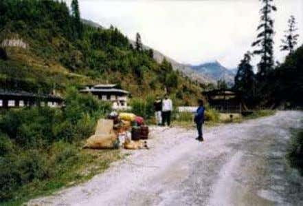 construction of a community road from the lateral road at Nikka Chhu Bridge. We stayed near