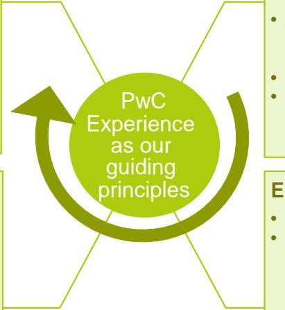 PwC Experience as our guiding principles • •