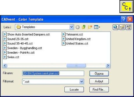 "Layer templates. Update Layer colours ""Product default settings"" dialogue ""CADvent Colour Template"" dialogue 44"