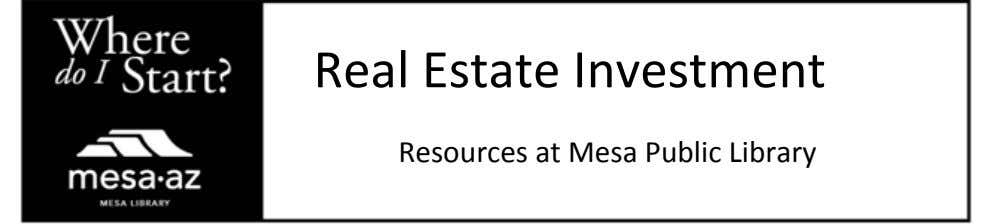 Real Estate Investment Resources at Mesa Public Library