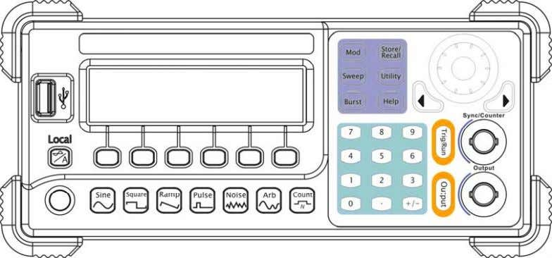 menus or obtain specific functional applications directly. 1-4 Figure 1-3 Front Panel for DG1000 Series ©
